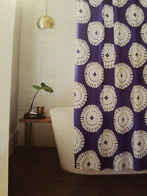 Project 62 Cotton Fabric Shower Curtain Cotton Blue Medallion NWT