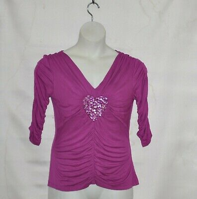 M by Marc Bouwer Embellished Heart Ruched Top Size S Fuchsia