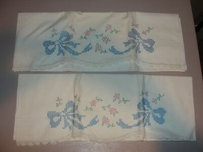 UNUSED VINTAGE WHITE COTTON PILLOWCASES ~EMBROIDERED Flowers CROCHETED EDGING