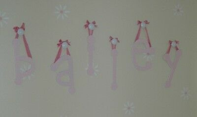 Pottery Barn BAILEY Decorator Letter Set Wall Letters Pink Gingham Baby Nursery