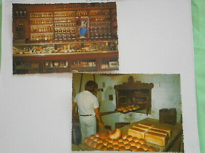 2 circa 1970s postcards Swan Hill Pioneer Settlement. Chemist shop & Bakery