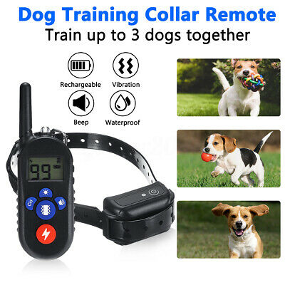 875 Yards Dog Shock Training Collar LCD Rechargeable Waterproof IPX7 + Remote