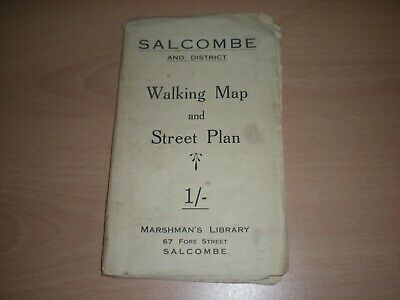 A Vintage Salcombe & District Walking Map & Street Plan -Cost 1/-