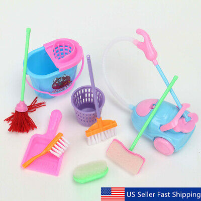 9Pcs Home Furniture Furnishing Cleaning Cleaner Kit For Barbie Doll House Set