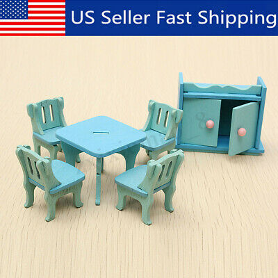 6Pcs Set Blue Wooden Miniature Dining Room Table Dolls Dollhouse Furniture Toy