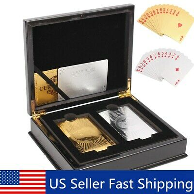 Set Of 2 24K Gold & Silver Playing Cards Regular Poker Deck Collectible /w Box