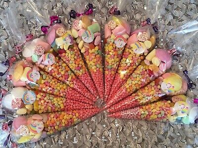 HALAL Pre filled Unicorn Theme Sweet Cones Bags Rainbow Birthday Party Girl