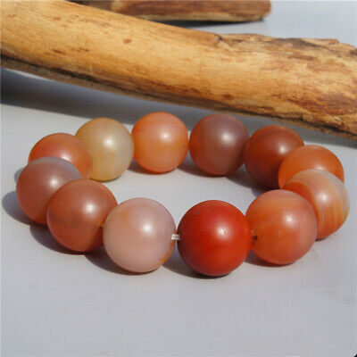 Genuine Natural Red Agate Old Round Beads Bracelet Elastic Rope Bangle 20mm