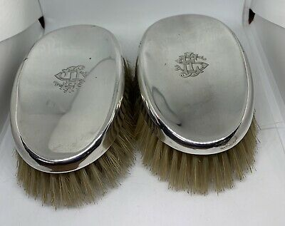 2 ANTIQUE STERLING SILVER BACKED MENS HAIR BRUSHES - 1918, William Neale & Sons