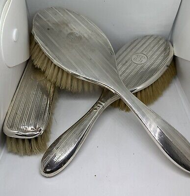 Antique silver grooming set (Hair brush and hand mirror, circa. 1917 & 1919)