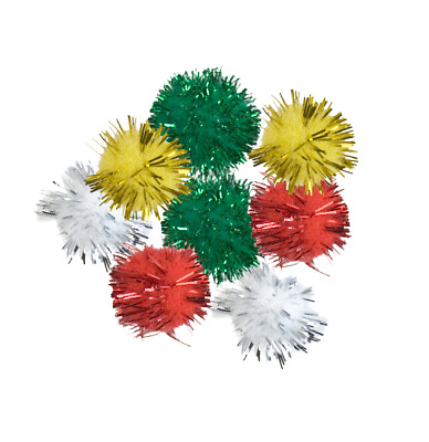 Craft Factory CF147 | Assorted Glittery Pom Poms | Toy Making | 25mm | 8 pack