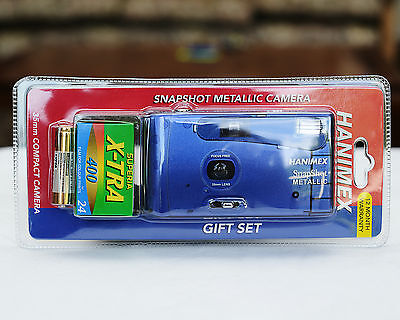 Hanimex Snap Shot Metallic BLUE,  Brand New Starter Pack w/Film, 35mm, 1738