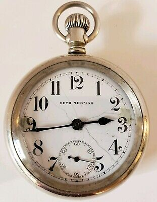 Antique Working 1904 SETH THOMAS Victorian Mens Model 8 Silver Pocket Watch 18s