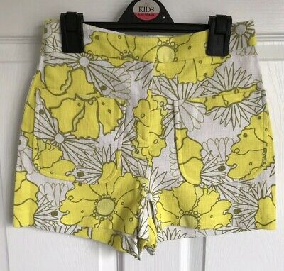 Ladies Yellow Floral Topshop Shorts/Hotpants - Size 6