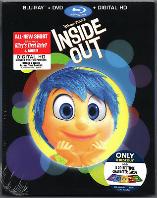 Inside Out 2015 New Blu-ray DVD Disney Pixar 3 Discs Collectible Cards Slipcover