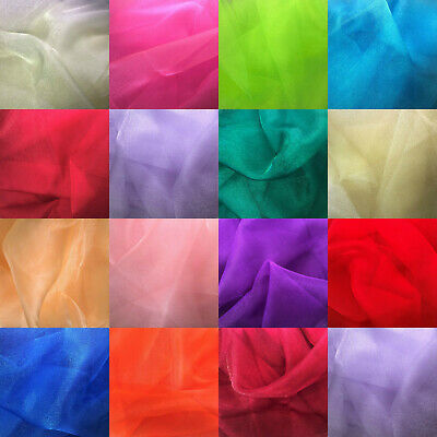 Sparkling Crystal Organza Fabric Sheer Voile Decoration Wedding Party 150cm Wide