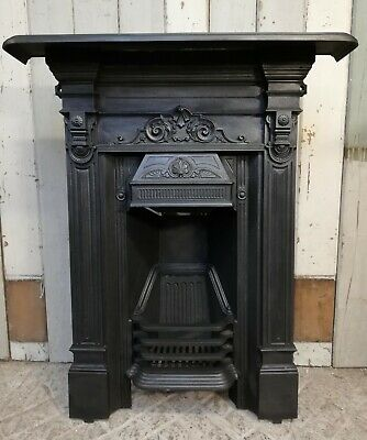 An Attractive Antique Victorian Cast Iron Combination Bedroom Fire Fc0054
