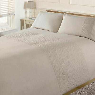 Brentfords Pinsonic Wave Duvet Cover with Pillow Case Bedding Set, Cream King
