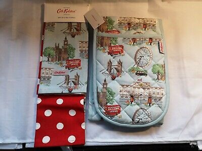 Cath Kidston Double Oven Glove & Tea Towels London Town Bundle New Tagged