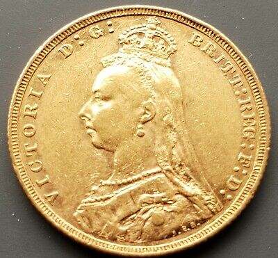 Queen Victoria 1892 Full Gold Sovereign, Jubilee Head. Melbourne Mint.