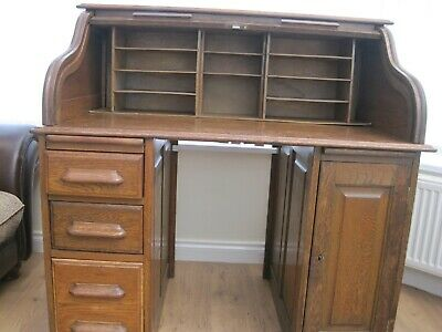 Antique Edwardian Roll Top Tambour, Desk, Oak, c1904