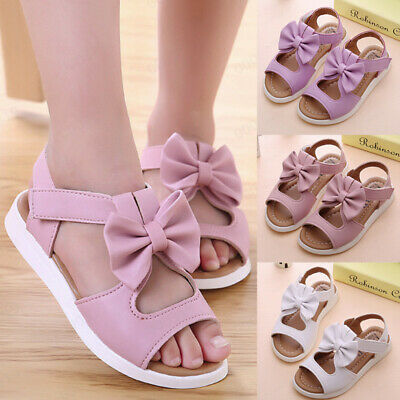 Summer Kid Slippers Sandals Bowknot Girl Flat Party Pricness Shoes US 6.5-12.5