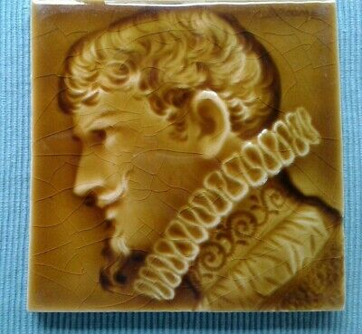 Antique Trent Ceramic Art Tile Dutch Renaissance Man Fireplace Signed Broome