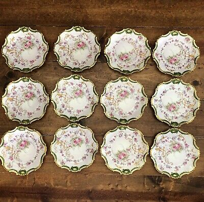 "12 Limoges Coronet Hand Painted Antique Heavy Gold Ornate Rose 7.5"" Plates Lot"