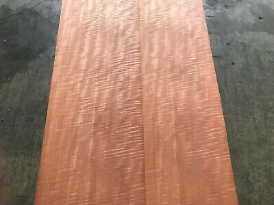 Fiddleback Makore Wood Veneer. 13.5 x 84, 4 Sheets.