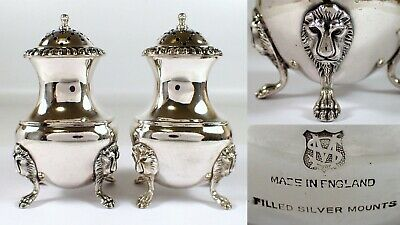 Antique Vtg Ellis Barker England Silver Plate Salt Pepper Shakers Lion Head Claw