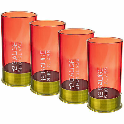 12 Gauge Shotgun Shell Shot Glass Set of Four Novelty Gag Gift Party Bar Item