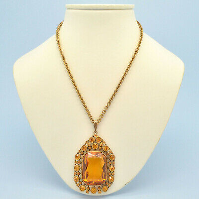Vintage Necklace 1920s Art Deco Amber Crystal Goldtone Pendant Bridal Jewellery