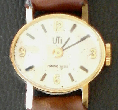 Ladies manual-wind oval UTI montre EBAUCHE SUISSE gold watch
