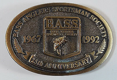 Vintage Brass Belt Buckle Bass Anglers Sportsman Society 25th Anniversary