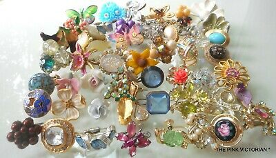 Huge! Vintage Jewelry Craft Lot,Flowers,Mixed Media Art,Tile Accents,Bouquet Art