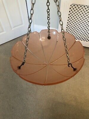Pink Glass Art Deco Vintage Antique Light Fitting / Lamp Shade
