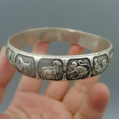 Jewelry Crafts Adjustable Antique Silver Relief Chinese Zodiac Bracelet Bangle