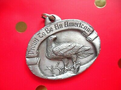 """SISKIYOU 1984 OVAL PROUD TO BE AN AMERICAN EAGLE PENDANT, 1.75"""", 42g"""