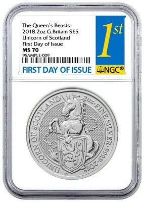 2018 Great Britain 2 oz Silver Queen's Beasts Unicorn of Scotland NGC MS70 FDI