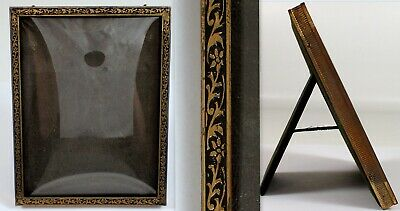 Antique Vtg Brass Black Enamel Velvet Desk Picture Frame w Convex Glass 4 1/4""