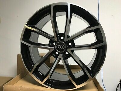 "19"" Black Machine S5 Style Rims Wheels Fits A3 A4 A5 A6 A7 A8 Audi 5X112 Bolt"