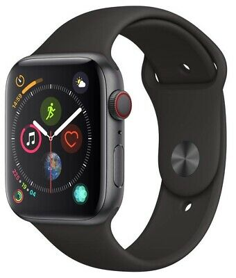 Apple Watch Series 4 44 mm Space Gray Case with Black Sport Band GPS + Cellular