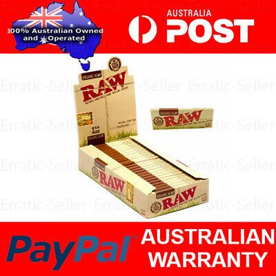 Box of 24 RAW 1 1/4 Papers Organic Hemp Natural Unrefined Smoking Tobacco Leaves