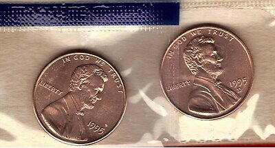1995-P & D Uncirculated Lincoln Memorial Cent In Mint Set Cello