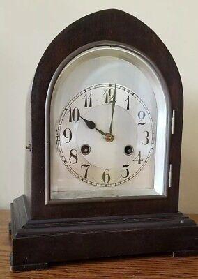 Antique German Mahogany? Junghans  Mantle Clock Chimes 1/2 hr & hrs Works Nicely