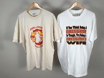 Firefighter Lot Of 2 Tan And White Vintage Retro Style Fireman Shirts XL