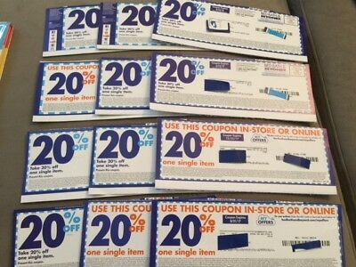 12 Bed Bath and Beyond 20% OFF one single item Coupons in store use only LOT3