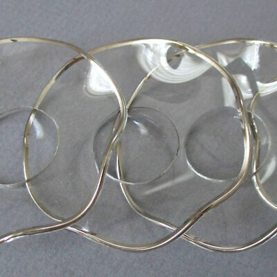"""4 Vintage 3"""" Wavy Scalloped CRYSTAL Candle BOBECHES Wax Catchers w SILVER Trim"""