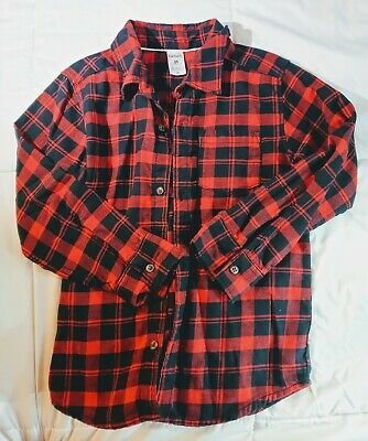 Carter's  Boys Long Sleeve Flannel Red Shirt Size 5t Long Sleeve Button Up