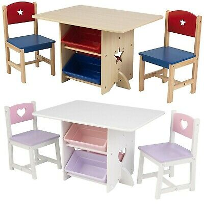 Childrens Kids Nursery Wooden Play Table and Chairs Set With 4 Storage Boxes New